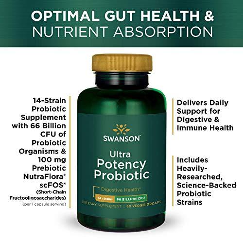 Swanson Ultra Potency Probiotic Digestive Health Immune System Support 66 Billion CFU Prebiotic NutraFlora scFOS 60 DRcaps Veggie Capsules (Caps) (2 Pack) by Swanson (Image #4)