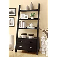 1PerfectChoice Cappuccino Leaning Ladder Bookshelf with 2 Drawers