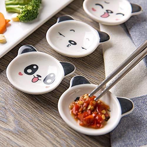 DeemoShop 4pcs ceramic cute small sauce dish panda shape cheap dish