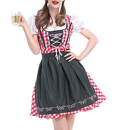 Beauty&YOP Halloween Costumes Carnival Costumes Oktoberfest Costume Christmas Costume Cosplay Costumes 2PC Women Bandage Piaid Bavarian Oktoberfest Costumes Barmaid Dirndl Dress -