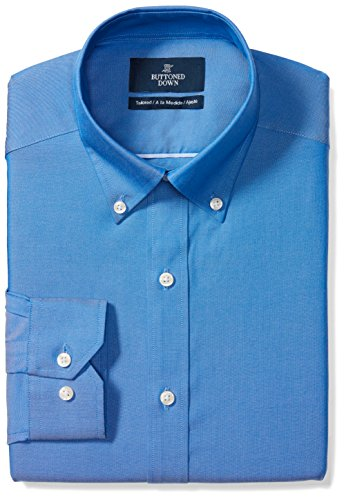 BUTTONED DOWN Men's Tailored Fit Button-Collar Solid Non-Iron Dress Shirt, French Blue, 18