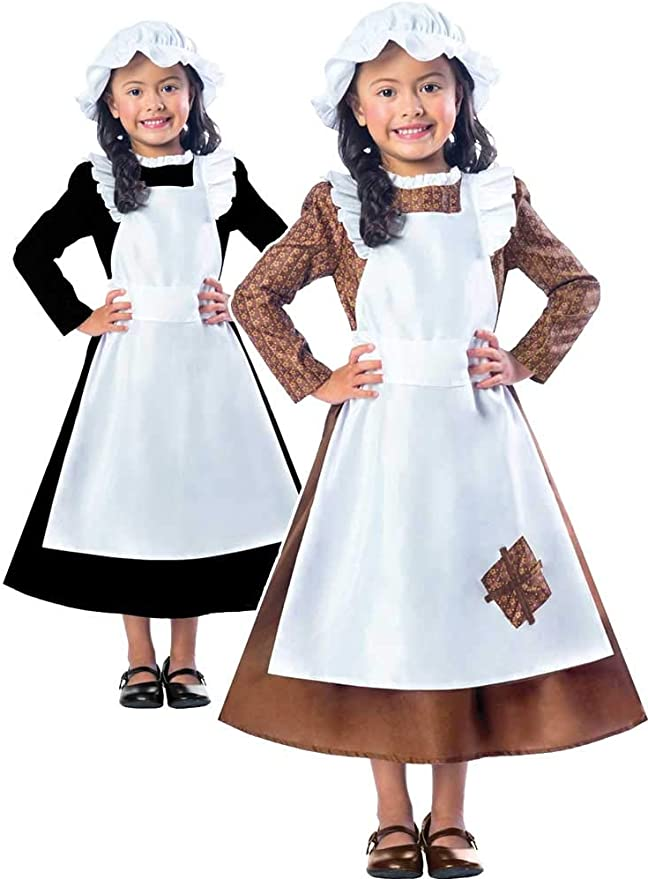 Victorian Kids Costumes & Shoes- Girls, Boys, Baby, Toddler amscan 9000648 Victorian Girl Costume with Hat and Attached Apron - Age 9-10 Years - 1 PC £8.64 AT vintagedancer.com