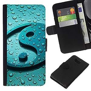 EJOY---La carpeta del tirón la caja de cuero de alta calidad de la PU Caso protector / Samsung ALPHA G850 / --Reflexión Yang gota del agua dulce Zen