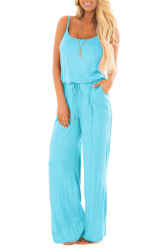 sullcom Women Summer Solid Sleeveless Wide Leg Jumpsuit Casual Spaghetti Strap Stretchy Long Pant Rompers YIBU Apparel
