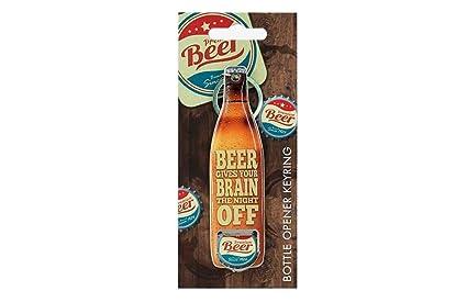 La cerveza da la noche del cerebro de llavero del abrelatas ...