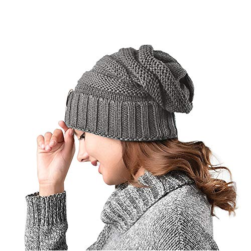 ZOORON Women Warm Slouchy Beanie Hats,Oversized Stretch Cable Knit Chunky Winter Skull Caps,Soft Crochet Baggy Hats Gray