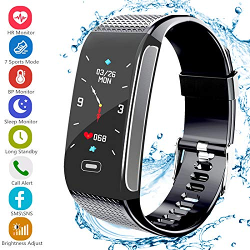 Fitness Tracker HR, Activity Tracker with Pedometer Blood Pressure Heart Rate Monitor IP67 Waterproof Step Calorie Distance Tracker Call SMS SNS Remind for Men Women Kids Compatible for Android iOS