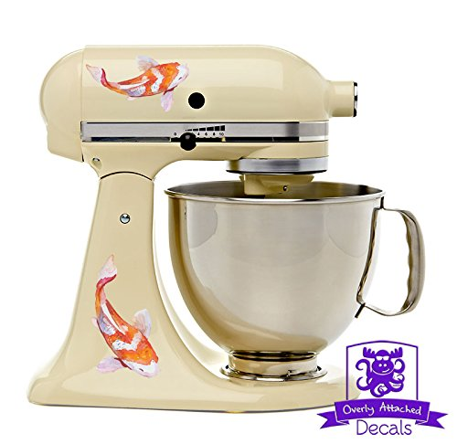 Orange and White Watercolor Koi Fish Kitchen Stand Mixer Appliance Decal Front/Back Vinyl Decal Set - Full Color