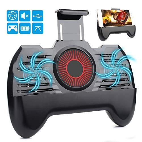 momen Mobile Controller, Phone Cooler for Fornite Phone Controller with 2200mAh Portable Charger, 4 in 1 Functions Game Controller with Phone Holder Black Color