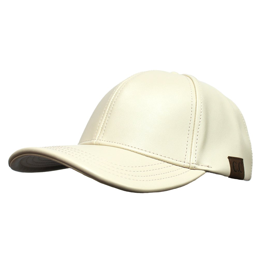 4b5693c42ea H-6BA4-60 Faux Leather Adjustable Womens Baseball Cap - Beige at Amazon  Women s Clothing store
