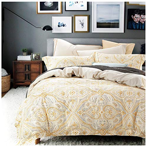 Antique Italian Renaissance Baroque Scroll Medallions 3pc Duvet Cover Set Cotton Beige Blush Black Floral Ornamental Motif Royal Venetian Swirl Bedding (King, - Scroll Woven Paisley