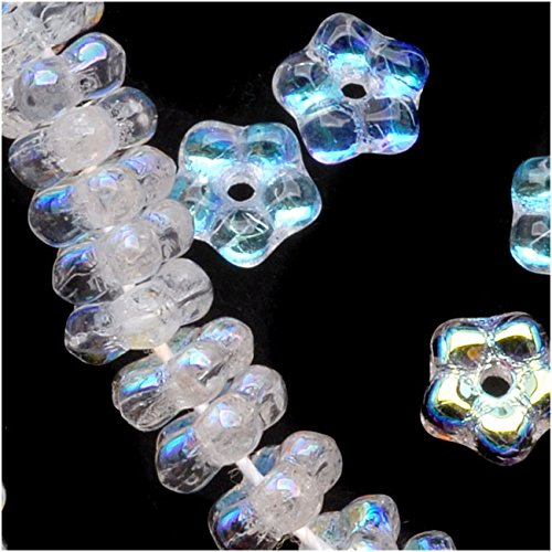 Czech Glass Daisy Flower Rondelle 5mm Crystal AB (100 Beads)