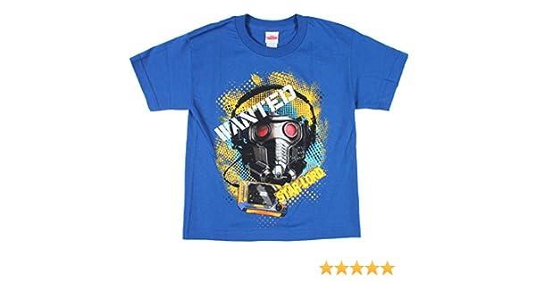 Marvel Guardianes de la Galaxy Big Boys Wanted Star-Lord Camiseta - Azul -: Amazon.es: Ropa y accesorios