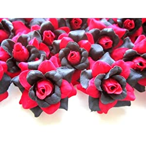 "(100) Silk Red Black Roses Flower Head - 1.75"" - Artificial Flowers Heads Fabric Floral Supplies Wholesale Lot for Wedding Flowers Accessories Make Bridal Hair Clips Headbands Dress 2"
