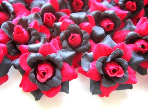 100-Silk-Red-Black-Roses-Flower-Head-175-Artificial-Flowers-Heads-Fabric-Floral-Supplies-Wholesale-Lot-for-Wedding-Flowers-Accessories-Make-Bridal-Hair-Clips-Headbands-Dress