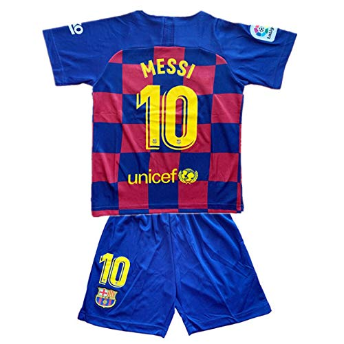 HZIJUE Messi #10 New 2019-2020 FC Barcelona Home Soccer Jersey & Shorts for Kids or Youth Red/Blue (7-14 Years) ()