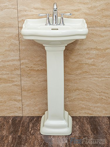Fine Fixtures, Roosevelt Biscuit Pedestal Sink   18 Inch Vitreous China  Ceramic Material (4