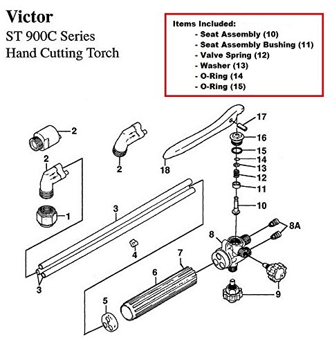 Victor ST900C & ST900FC Cutting Torch Rebuild/Repair Parts Kit House/Victor/Harris/Seal Seat/Smith 455593
