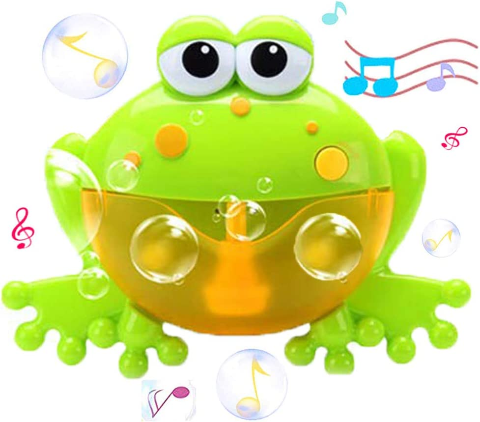 WenToyce Frog Bubble Maker for Bath, Foam Blower Bubbling Making Machine, Nursery Rhyme Musical Bathtub Toy for Baby Kids Happy Tub Time