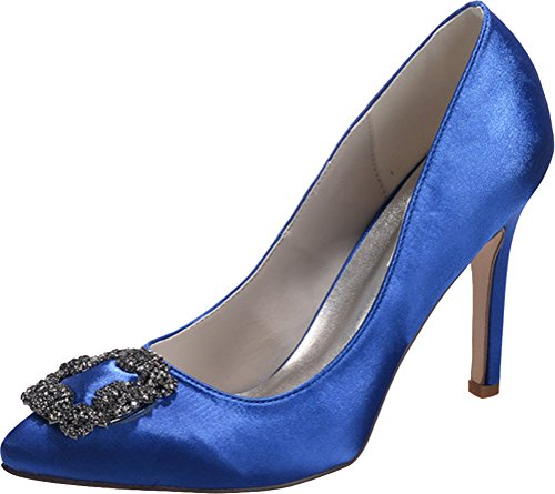 Nightclub 0608 Ol Pointed Work Wedding Ladies Simple Blue Heeled Bride Pumps Toe Salabobo Satin Job 21 Dress vxSvX