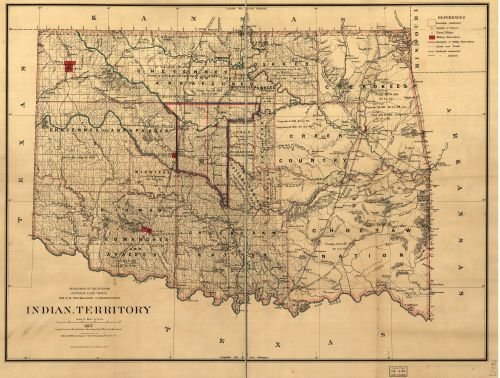 Mayo Furniture - 1887 Map Indian territory: compiled from the official records of the records of the General Land Office and other sources under supervision of Geo. U. Mayo. This map contains extensive cultural detail