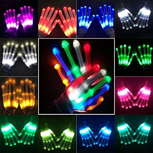 Balai 12 Color Changing Flashing Show Skeleton Multicolor Led Finger Lighting Gloves Clubs Lightshow Dancing Gloves for Teenager Clubbing,Rave,EDM, Disco,Dubstep Party,Novelty -