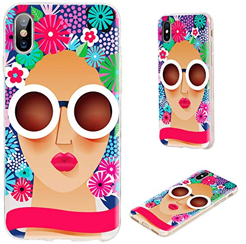 iPhone XS Case,iPhone X Case,VoMotec Shockproof Slim Flexible Soft TPU 360 Full Protective Cover Cases with Art Design for Apple iPhone X XS 10,a Fashion Sunglasses Woman with Floral Hair ()