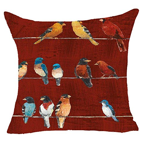 Queen's designer Happy Autumn Hand Painted Little Birds Retro Red Background Cotton Linen Decorative Home Office Throw Pillow Case Cushion Cover Square 18X18 Inches (B) -