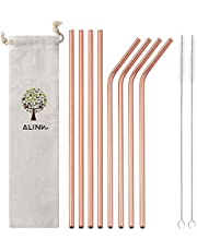 ALINK Stainless Steel Straws, 10.5 Inches Long Reusable Replacement Metal Straws for 20 30 OZ Yeti Tumbler, RTIC, Tervis, Ozark Trail, Starbucks, Mason Jar, Set of 8 with Cleaning Brush