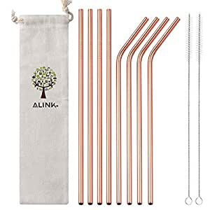 """ALINK Stainless Steel Straws, 10.5"""" Long Reusable Replacement Metal Straws for 20 30 OZ Yeti Tumbler, RTIC, Tervis, Ozark Trail, Starbucks, Mason Jar, Set of 8 with Cleaning Brush, Rose Gold"""