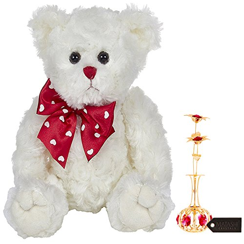 Gift, 24K Gold Plated Sun Flowers In vase Ornament with Red Crystals Bearington Lil' Lovable Mother's Day Plush Stuffed Animal Teddy Bear, White 11