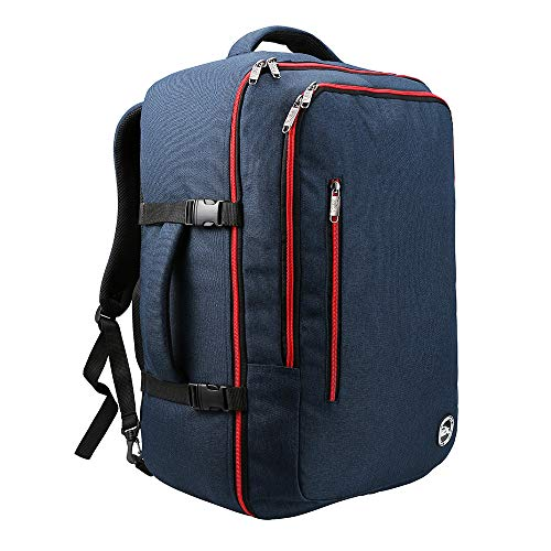 Cabin Max️ Malaga Carry On Luggage, Travel Bag-22x14x9-44 Liters-Lightweight, Durable and Stylish, Perfect Weekender Bag-Fits Most Major Airlines!(Navy/Red)