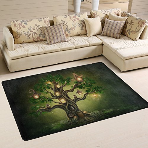 Fantasy Tree House in Forest with Eagle Owls Area Rugs Pad Non-Slip Kitchen Floor Mat for Living Room Bedroom 2' x 3' Doormats Home Decor