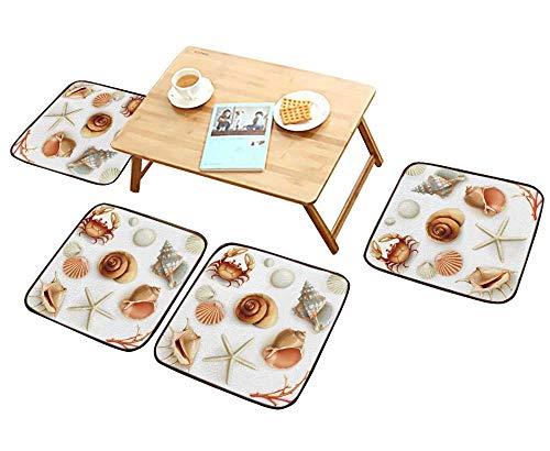 - HuaWu-home Simple Modern Chair Cushions Seashells Icons Reusable Water wash W27.5 x L27.5/4PCS Set