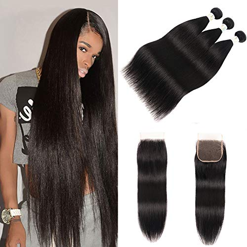 Baby Young hair Brazilian Straight Human Hair 3 Bundles with Lace Closure Free Part Straight Virgin Brazilian Hair with Bundles Natural Black Color Straight Hair Weaves Extension(20 22 24+18 Closure)