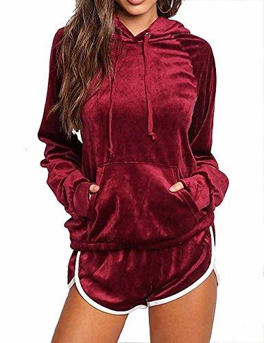 - Imagine Women's Open Front Velvet Hoodie Suit Tracksuit Sweatsuit Hoodie Suits with Pockets £¨2 Pieces£WR-XL