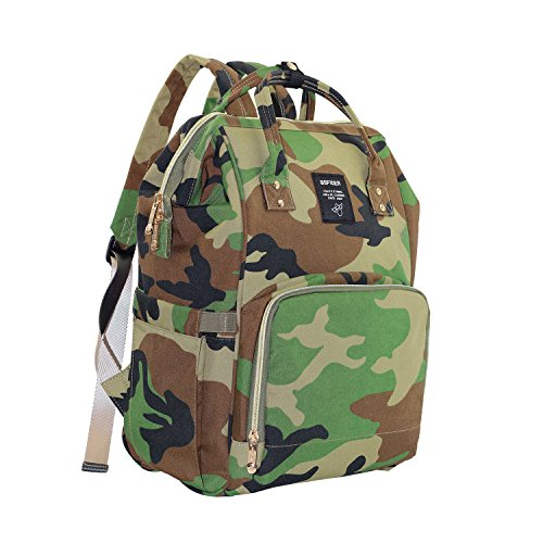 CutePaw Multi-Function Baby Diaper Bag Backpack Waterproof Camouflage/Solid Nappy Bag Large Capacity Travel (Diaper Bag Green Camouflage)