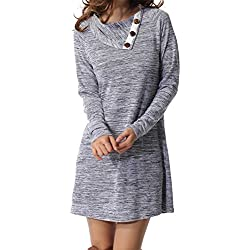 Womens Long Sleeve Button Deco Neck Loose Casual Short T Shirt Dress Gray L