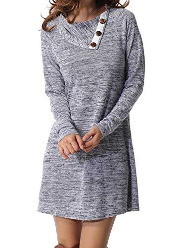 Womens Long Sleeve Button Deco Neck Loose Casual Short T Shirt Dress Gray M