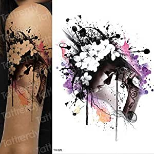3 Piezas Pegatina de Tatuaje de Cara de Halloween peonía Rosa ...