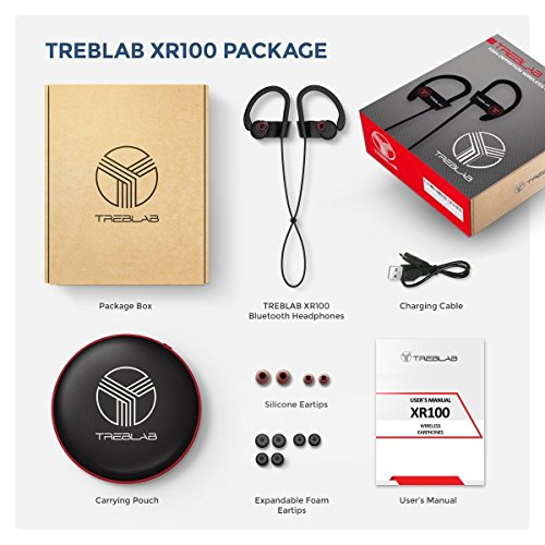 Bluetooth Earbuds TREBLAB XR100, Best Wireless Headphones For Running or Workout, True HD Sound, Secure Fit, Sweat-Proof, 9 Hour Battery