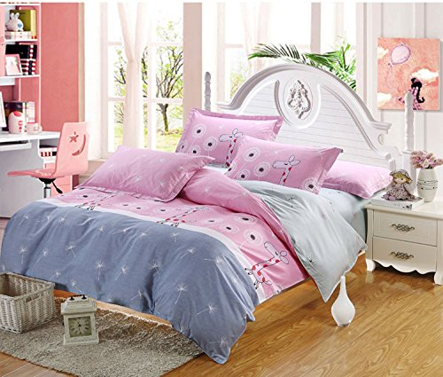 MeMoreCool Home Textile Cute Kids Students Bedding Set Cartoon Happy Pink Giraffe Pattern Duvet Cover Boys and Girls 100% Cotton Bedding Fillet Bed Sheets Full Size 4Pcs