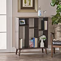 Elizabeth Mid Century Walnut Finished Faux Wood Bookshelf with Sonoma Oak Backing