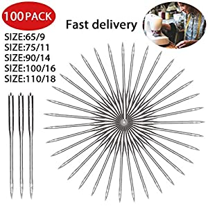 Sewing Machine Needles, Universal Regular Point for Brother, Singer, Varmax, Janome, 5 Sizes 65//9, 75//11, 90//14, 100//16, 110//18(50pcs