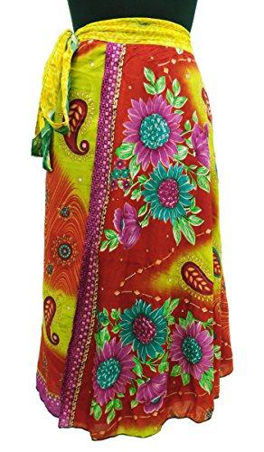 Georgette Magia Falda Del Abrigo De La Vendimia Vestido Floral De Boho Sarong Amarillo y rosado