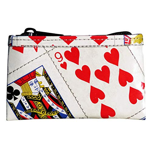 Large zipper coin purse made from real playing cards PRIME fun gift for bridge poker player trip to las vegas casino addict solitaire person magician friend magic tricks bag play card war battle game