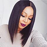 Glueless Full Lace Human Hair Wigs For Women Brazilian Virgin Straight Short Bob Cut Wigs With Baby Hair (10 Inch, Transparent Lace-Agerage size) Review