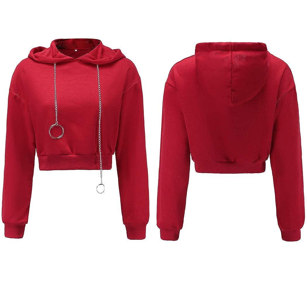 Mujer Sudaderas con Capucha, Lananas Mujer Moda Casual Manga Larga Midriff Cordón Rojo Tops Pullover Sweatshirt Hoodies: Amazon.es: Ropa y accesorios