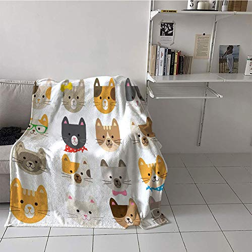 Khaki home Children's Blanket Throw Print Summer Quilt Comforter (30 by 50 Inch,Animals,Cats Costume with Glasses and Bow Tie Bandana Cartoon Artwork Craft Pattern Print,Multicolor]()