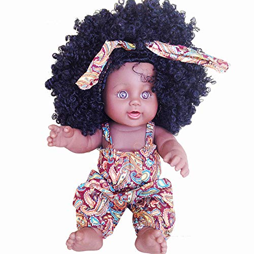 Black Girl Dolls African American Play Dolls Baby Doll Lifelike 12 inch Baby Play Dolls for Kids Perfect for Gift (Brown, 12in)